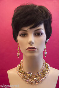 Black Short Human Hair Straight Pixie Wig
