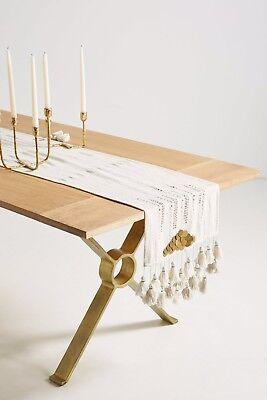 New Anthropologie Gold Inflection Table Runner Tassels Fringe Metal Boho