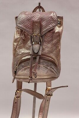 Versace Mini Rosegold Metallic Mini Backpack with Adjustable Straps