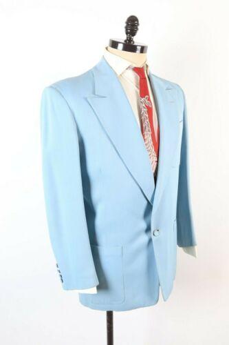 VTG 40s Rockabilly Baby Blue Gabardine Wool Hollywood Suit USA Mens Size 42