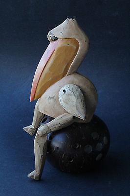 Brown Pelican Bird Wooden Puppet - Rustic Wood Handcraft / Statue - Sz M