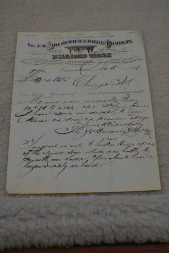 Antique Pool/Billiard/Table/Brunswick J M Brunswick Letterhead 1876 Rare!!!