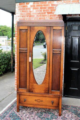 English Antique Art & Craft Oak 1 Mirrored  Doors Cabinet Wardrobe / Armoire