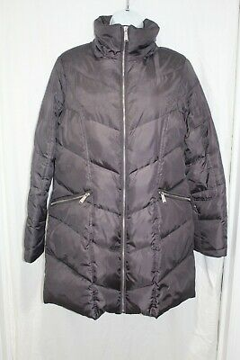 Michael Kors MK long puffer coat, 3/4 length gunmetal gray DOWN Women's Size S