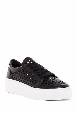 Musse   Cloud Cacey Platform Sneaker Perforated Leather Nib Black 9 5   10 Spain
