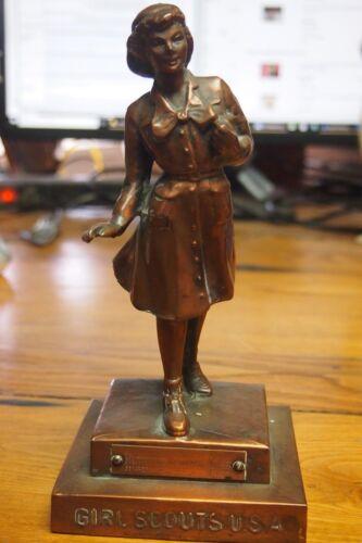 "1957 Marjorie Daingerfield Girl Scout Bronze Statue -8"" tall"