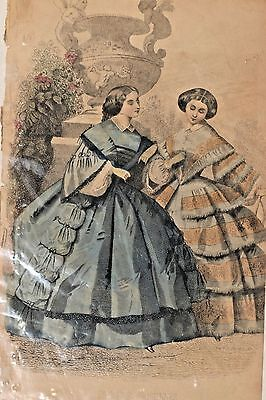 Lot of Five 1860's Hand Colored Godey and Paris Fashion Lithographs! J.I. Peace