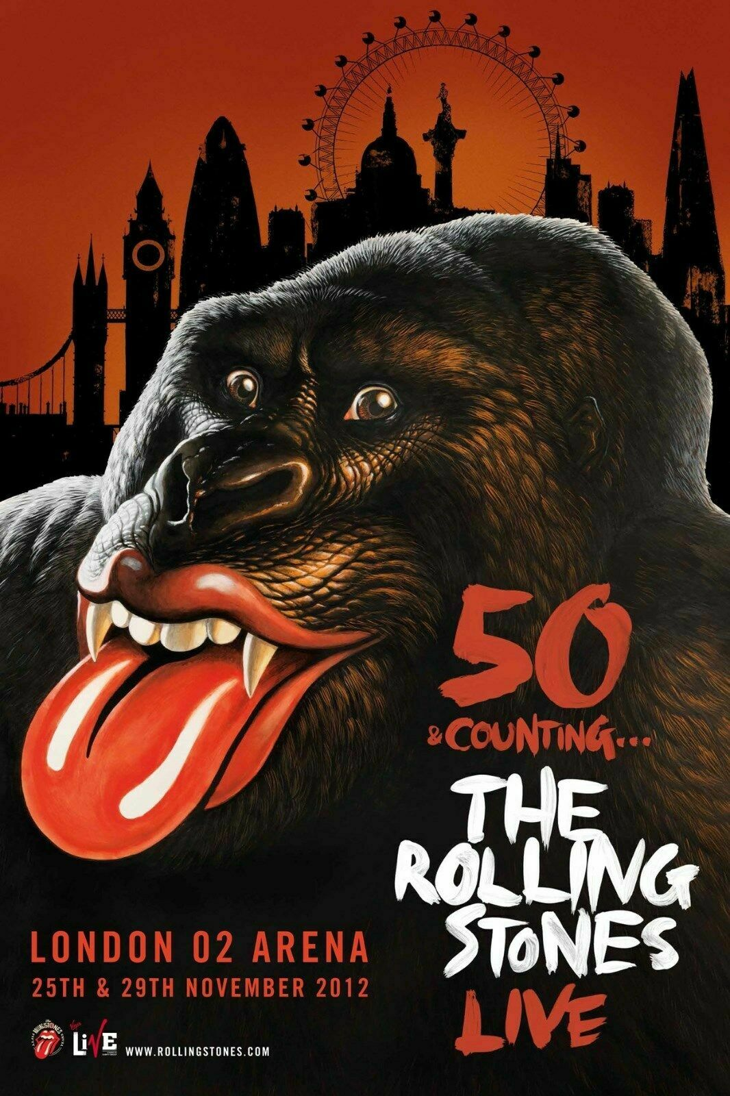 ROLLING STONES 50 COUNTING LIVE 2012 LONDON, UK CONCERT TOUR POSTER - Rock - $11.99