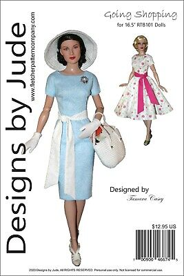 Going Shopping Doll Clothes Sewing Pattern for 16.5