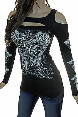 Top Cross Tattoos (Bling Plus Peekaboo Open Cold Shoulder Crystal Cross Wing Tattoo Long Sleeve Top)