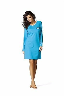 Comtessa night+day Single Jersey Langarm Nachthemd Nachtkleid aqua, wildrose NEU ()
