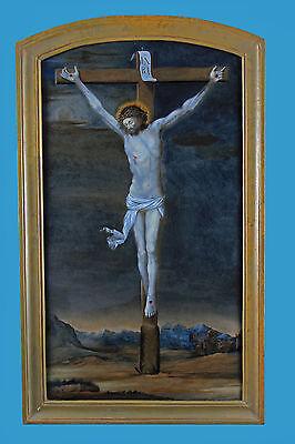 terglasbild ~1780 Luzern/Beromünster monogr. FRI: STE: PINX: (Glasmalerei Kreuze)