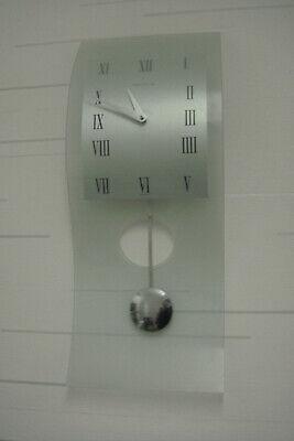 Franz Hermle The Modern  Wall  Pendulum Clock. Glass. Grey. Battery Powered.