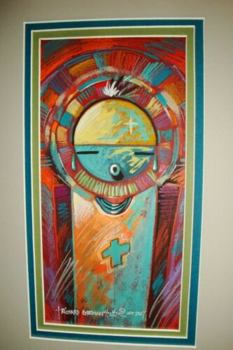 Abstract Kachina, Original Painting in Prisma Color, Matted and signed