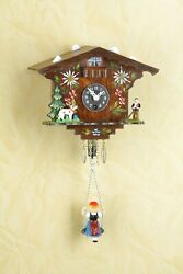German Black Forest classic miniature mechanical Clock with a swing