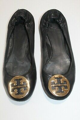 Tory Burch Ballet Flats Black Gold Slip On Stretch Leather Womens US Size 8