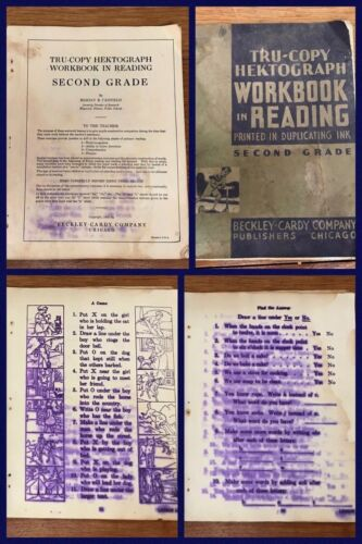 Hectograph Duplicating Reading Workbook Sheet Beckley Carly One Room School 1935
