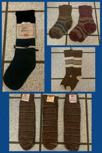 7 Vintage Knee High Socks & Crew Girls Orlon Nylon Stripe Hippy 1970s Sz 4 - 9
