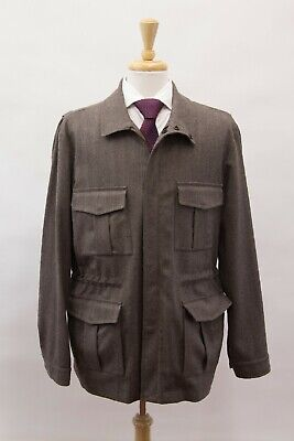 NWOT E. TAUTZ SAVILE ROW LONDON MEN HERRINGBONE WOOL* KNIT SAFARI JACKET COAT 42