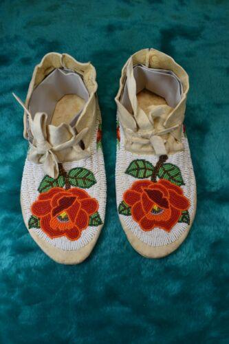 Native American Beaded Moccasins Hard Soles, Shoshone Rose Motif