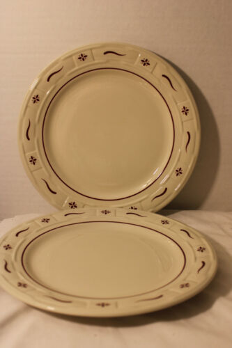 LONGABERGER  DINNER PLATES, LOT OF 2, RED, USA POTTERY, WOVEN TRADITIONS