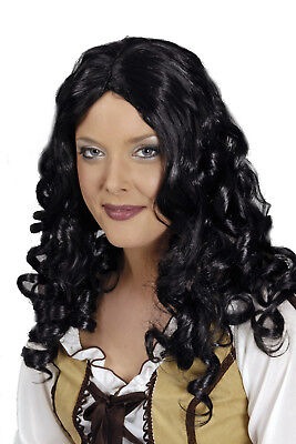 süße Damen PERÜCKE Joy schwarz lange LOCKEN zB Kostüm Larp Pirat Zigeunerin Magd