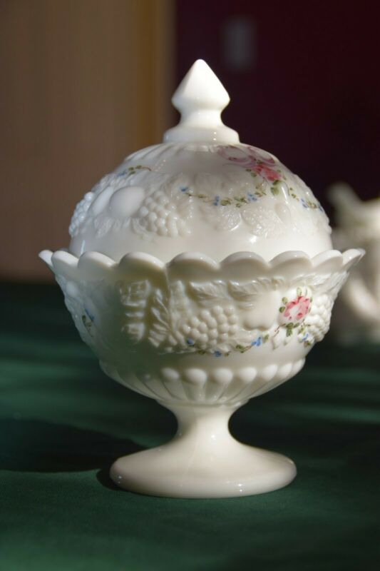 Candy Dish Domed Milk Glass Della Robbia Pattern Westmoreland Glass