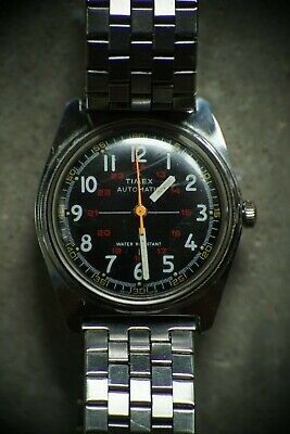 1978 Timex Automatic Military Crosshair Field Watch, RARE! Runs And Keeps Time!