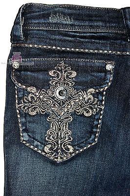 Grace In La Denim Dark Blue Jeans Jeweled Cross Pocket Junior Skinny Fit K8327n