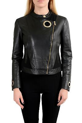 Versace Collection 100% Leather Black Full Zip Women's Basic Jacket Sz S M 2XL