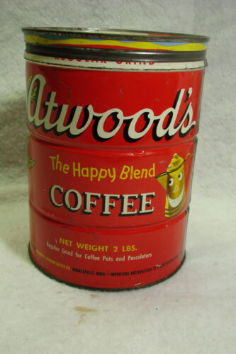 2 LB ATWOOD'S KEYWIND COFFEE TIN CAN LID W/Mixed Nuts top lid