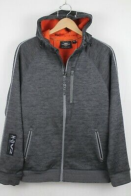 Harley Davidson Mens HD-V2 Gray Full Zip Hoodie Jacket Sz Medium