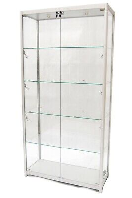 Silver Aluminum Framed Tempered Glass Tower Rectangular Showcase With Lock Led