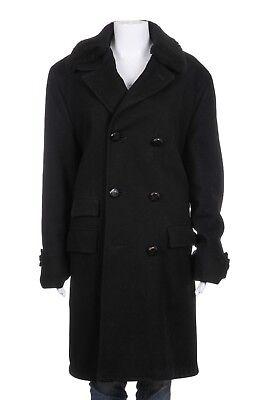 ALEXANDER'S Trench Coat Size 38 Wool Blend Black Fur Detachable Collar -