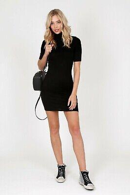 ENZA COSTA Silk Ribbed Knit Half Sleeve Turtleneck Mini Dress Black M (2) $178 Black Silk Mini Dress