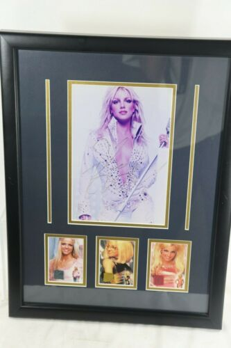 Britney Spears Signed photograph with 3 clothing swatches