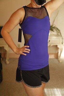Michi women Throttle tank top Medium purple black mesh netting workout