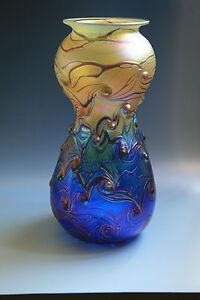 Bohemian-Art-Nouevau-Jugendstil-Glass-Vase-Iridescent-Glass