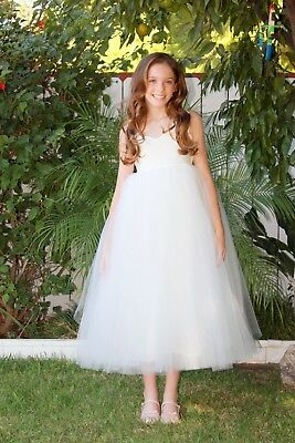 Wedding Cotton Tutu Flower Girl Dresses Princess Gown Junior Bridesmaid Dresses