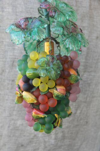 Vintage Murano Glass Fruit & Grape Hanging Light Chandelier