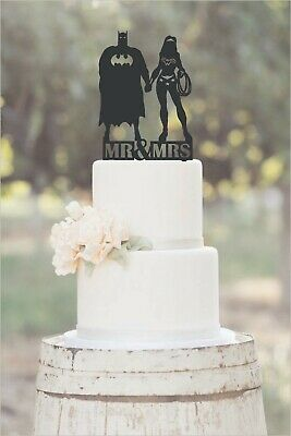 Wedding,Anniversary,Cake Topper Superhero, Batman and Wonder Woman Mr and Mrs (Superhero Wedding)