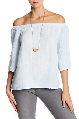 NWT Michael Stars Double Gauze Off-the-Shoulder Blouse Clearwater Size Large L