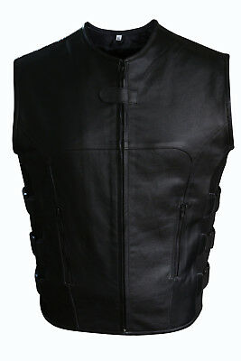 Cowhide Leather Motorcycle Vest - Men's Motorcycle Biker Swat Style Cowhide Leather Vest With Two Pockets
