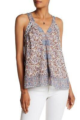 NWT- Joie Maisley Printed Silk Georgette Sleeveless Top, Vintage Pearl - (Printed Georgette Sleeveless Top)