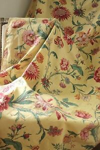 Vintage French floral yellow ground fabric curtain drape c1940's  textile
