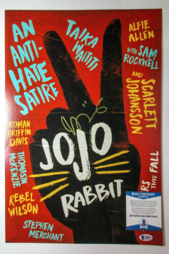 Taika Waititi Signed 'JoJo Rabbit' 12x18 Movie Poster Photo PROOF BAS