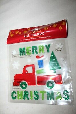 Merry Christmas Window Gels Charms RED TRUCK WITH TREE AND SNOWFLAKES