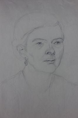 Porträt einer Frau Bleistiftzeichnung 1920er Jahre - Nachlass Anton Kist