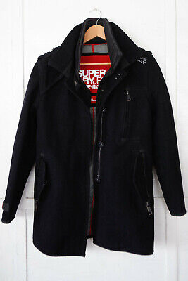 Superdry Double Black Label Jermyn Pea Coat Trench Wool L good condition