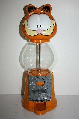 Vintage Garfield Cat Talking Gumball Machine Coin Bank, Metal Bottom WORKS! HTF